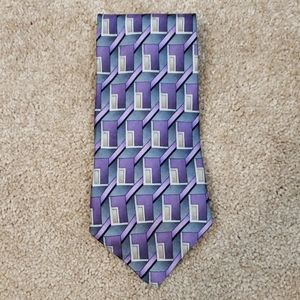 Stafford purple, gray, and gold patterned tie